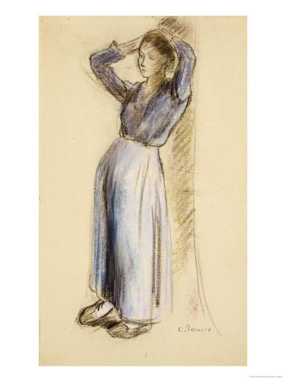 Country Girl Leaning Against a Tree, circa 1893-Camille Pissarro-Giclee Print