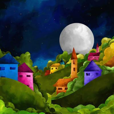 Country Hill at Night-goccedicolore-Art Print