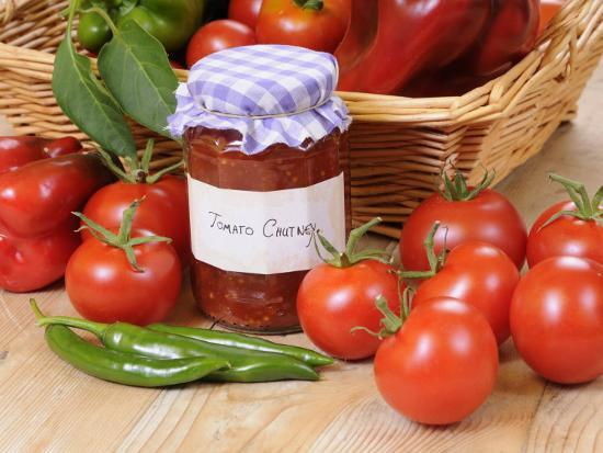Country Kitchen Scene with Home Made Chutney and Ingredients - Tomatoes and Peppers, UK-Gary Smith-Photographic Print