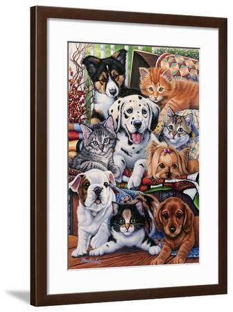 Country Pups and Kittens II-Jenny Newland-Framed Giclee Print