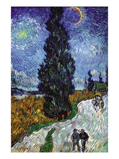 Country Road In Provence By Night-Vincent van Gogh-Art Print