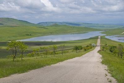 Country Road Leading Through Meadows, Davit Gareja, Georgia, Caucasus-Michael Runkel-Photographic Print