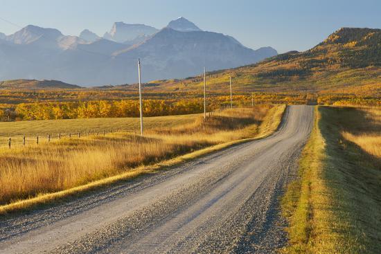 Country Road Through a Mountainous Landscape, Near Twin Butte, Alberta, Canada, North America-Miles Ertman-Photographic Print