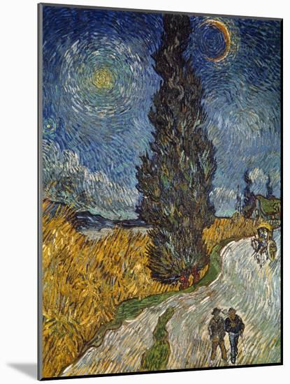 Country Road with Cypress and Star, 1890-Vincent van Gogh-Mounted Giclee Print