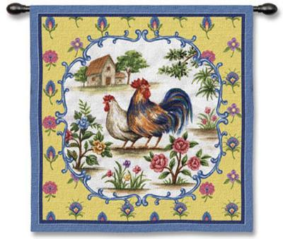 Country Roosters--Wall Tapestry