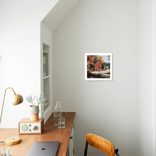 Country Schoolhouse T C Chiu Art Print Displayed On A Wall