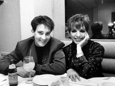 Country/Western Singer KD Lang with Actress Liza Minnelli at a Party to Celebrate Lang's Concert--Premium Photographic Print