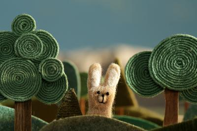 Countryside with Hare - Stylized Nature Background Made of Wool.- KREUS-Photographic Print