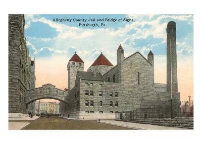 County Jail and Bridge of Sighs, Pittsburgh, Pennsylvania--Art Print