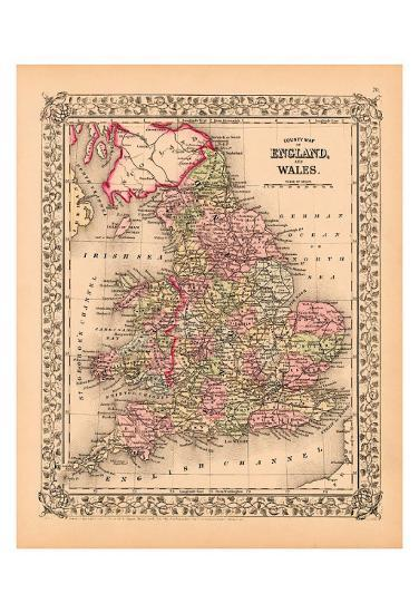 County Map Of England.County Map Of England And Wales C 1867 Art Print By Art Com