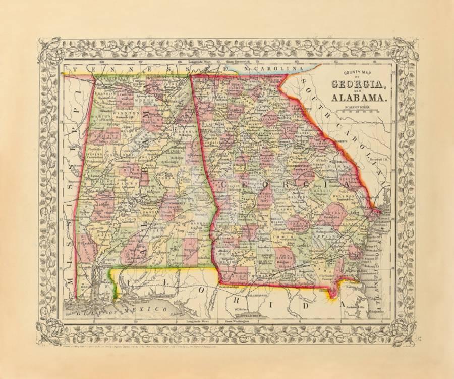 Map Of Georgia Alabama.County Map Of Georgia And Alabama 1868 Premium Giclee Print By S A Mitchell Art Com