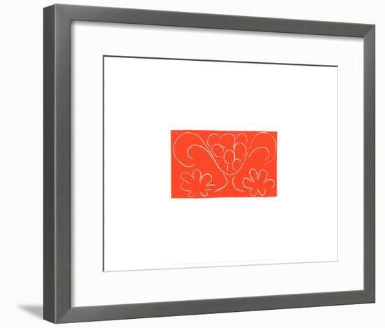 Coupe de Fruits Flanquee de Deux Fleurs, c.1943-Henri Matisse-Framed Serigraph