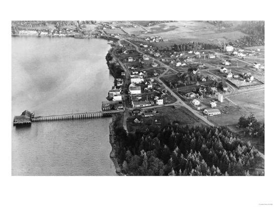 Coupeville, WA View from Air Whidby Island Photograph - Coupeville, WA-Lantern Press-Art Print