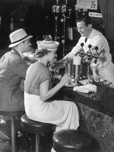 Couple at Counter of Ice Cream Parlor-George Marks-Photographic Print