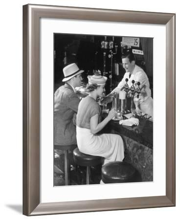 Couple at Counter of Ice Cream Parlor-George Marks-Framed Photographic Print