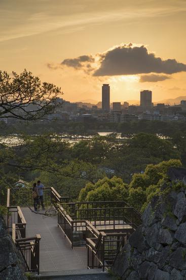 Couple at Fukuoka Castle Ruins at Sunset, Fukuoka, Kyushu, Japan-Ian Trower-Photographic Print