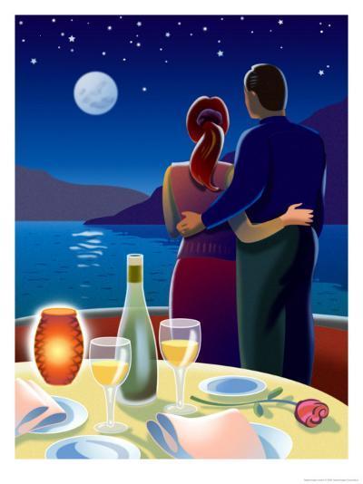 Couple at Romantic Dinner--Art Print