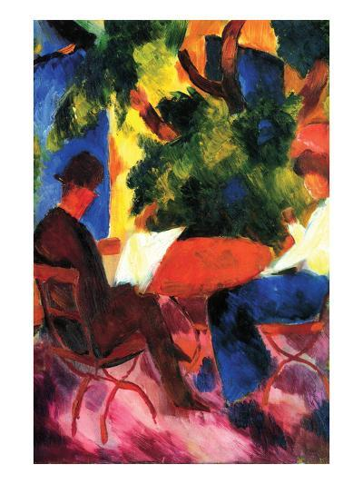 Couple at the Garden Table-Auguste Macke-Art Print