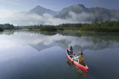 Couple Canoeing on Lake Portage Valley Sc Ak Summer-Design Pics Inc-Photographic Print