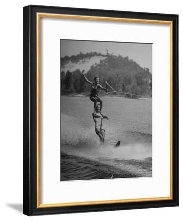 Couple Competing in the National Water Skiing Championship Tournament--Framed Premium Photographic Print