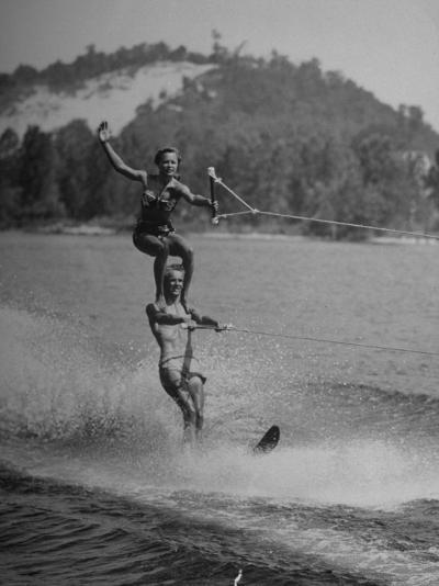 Couple Competing in the National Water Skiing Championship Tournament--Photographic Print