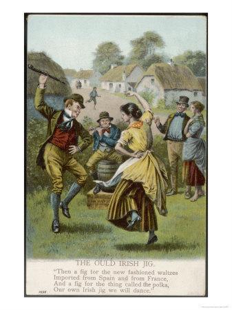 Couple Dance an Irish Jig on the Village Green--Premium Giclee Print