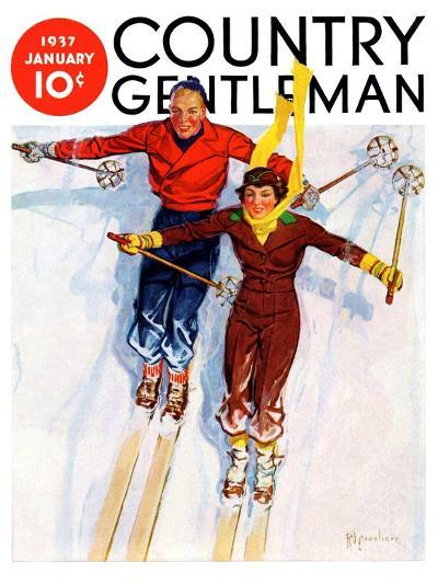 """""""Couple Downhill Skiing,"""" Country Gentleman Cover, January 1, 1937-R^J^ Cavaliere-Giclee Print"""
