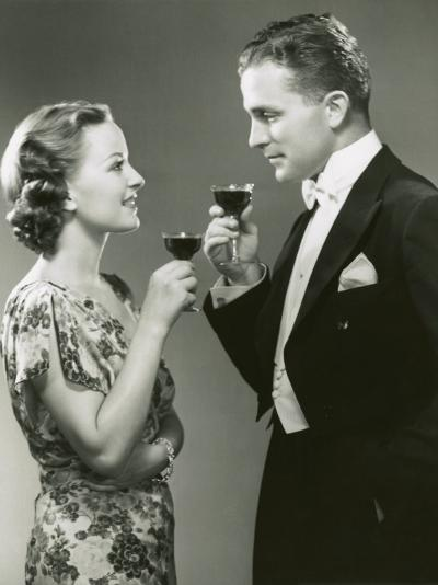 Couple Drinking Wine-George Marks-Photographic Print