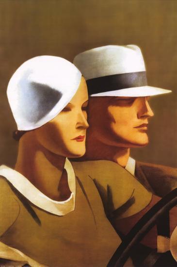 Couple Driving-Marcello Dudovich-Art Print