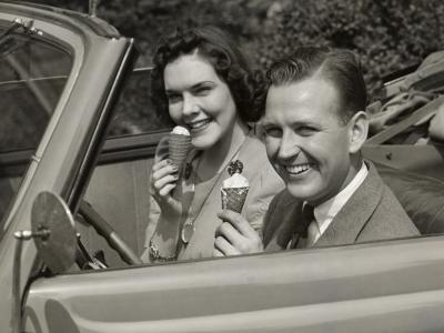 Couple Eating Ice Cream in Car-George Marks-Photographic Print
