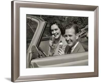 Couple Eating Ice Cream in Car-George Marks-Framed Photographic Print