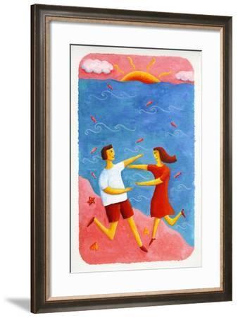 Couple Embracing on Beach, 2003-Julie Nicholls-Framed Giclee Print