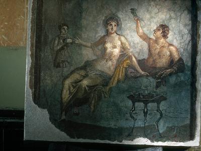 Couple Enjoy the Good Life in an Ancient Roman Fresco-O^ Louis Mazzatenta-Photographic Print