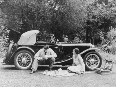 Couple Having a Picnic by an Mg Ta Midget, Late 1930S