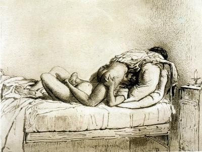 Couple Having Sex, Plate 27 from Liebe-Mihaly von Zichy-Giclee Print