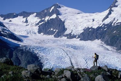 Couple Hiking at Portage Pass with View of Glacier Ak-Design Pics Inc-Photographic Print