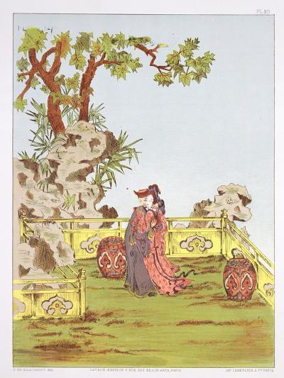 """Couple in a Chinese Garden, from """"Ornaments of China""""-Jean Francois Albanis De Beaumont-Giclee Print"""