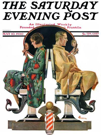 """""""Couple in Barber Chairs,"""" Saturday Evening Post Cover, May 10, 1930-Elbert Mcgran Jackson-Giclee Print"""