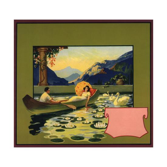 Couple in Canoe - Citrus Crate Label-Lantern Press-Art Print