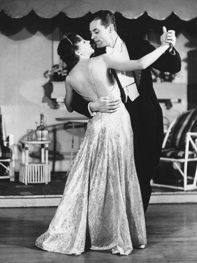 Couple in Evening Wear Dancing (B&W)-George Marks-Photographic Print