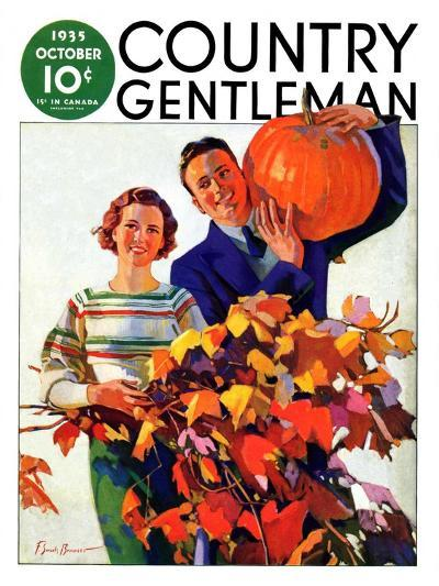 """Couple in Fall,"" Country Gentleman Cover, October 1, 1935-F. Sands Brunner-Giclee Print"