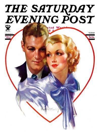 """""""Couple in Heart,"""" Saturday Evening Post Cover, February 17, 1934-Bradshaw Crandall-Giclee Print"""