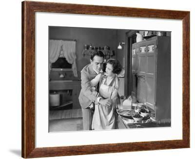 Couple in Kitchen--Framed Photo
