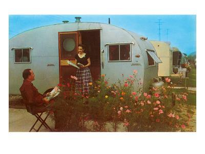 Couple in Old Trailer Park--Art Print
