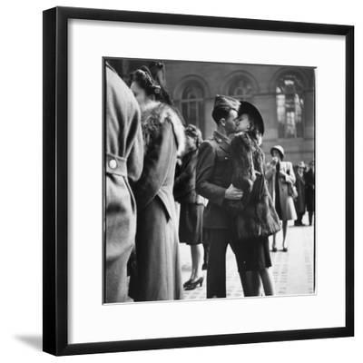 Couple in Penn Station Sharing Farewell Kiss Before He Ships Off to War During WWII-Alfred Eisenstaedt-Framed Premium Photographic Print