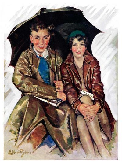 """""""Couple in Rain,""""October 4, 1930-Ellen Pyle-Giclee Print"""