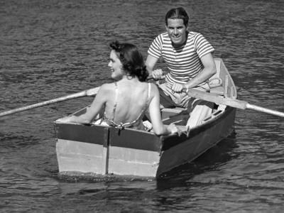 Couple in Row-Boat-George Marks-Photographic Print