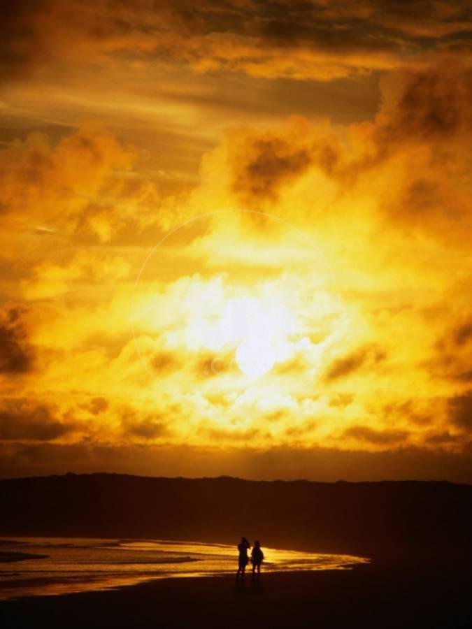 Couple In Silhouette On Beach Beneath Sunset Isla Santa Cruz Galapagos Ecuador Photographic Print By Mark Newman Art Com
