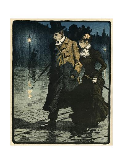 Couple in Wet Street-Paul Fischer-Giclee Print