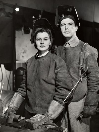 Couple in Ww Ii Defense Plant With Welding Gear-George Marks-Photographic Print